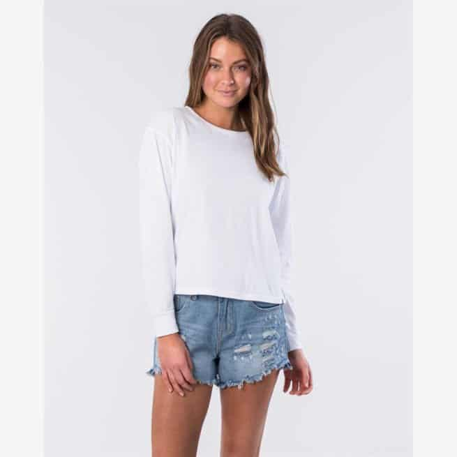 Rip Curl Essentials Crop Long Sleeve Tee White. Rip Curl Tees - Long Sleeve in Womens Tees - Long Sleeve & Womens T-shirts & Singlets. Code: GTEID9