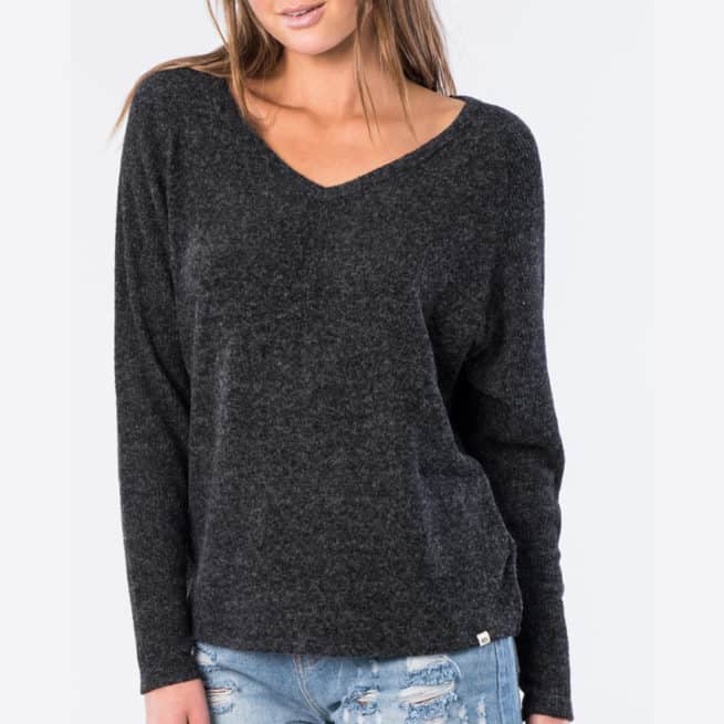 Rip Curl Cosy V Neck Fleece Black Marle. Rip Curl Tees in Womens Tees & Womens T-shirts & Singlets. Code: GFEKB4