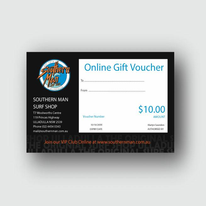 Southern Man $10 Gift Voucher . Southern Man Gift Vouchers in Generic Gift Vouchers & Generic Vouchers. Code: GIFTV10