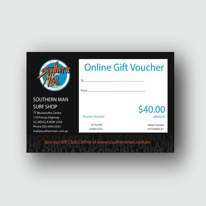Southern Man $40 Gift Voucher . Southern Man Gift Vouchers in Generic Gift Vouchers & Generic Vouchers. Code: GIFTV40