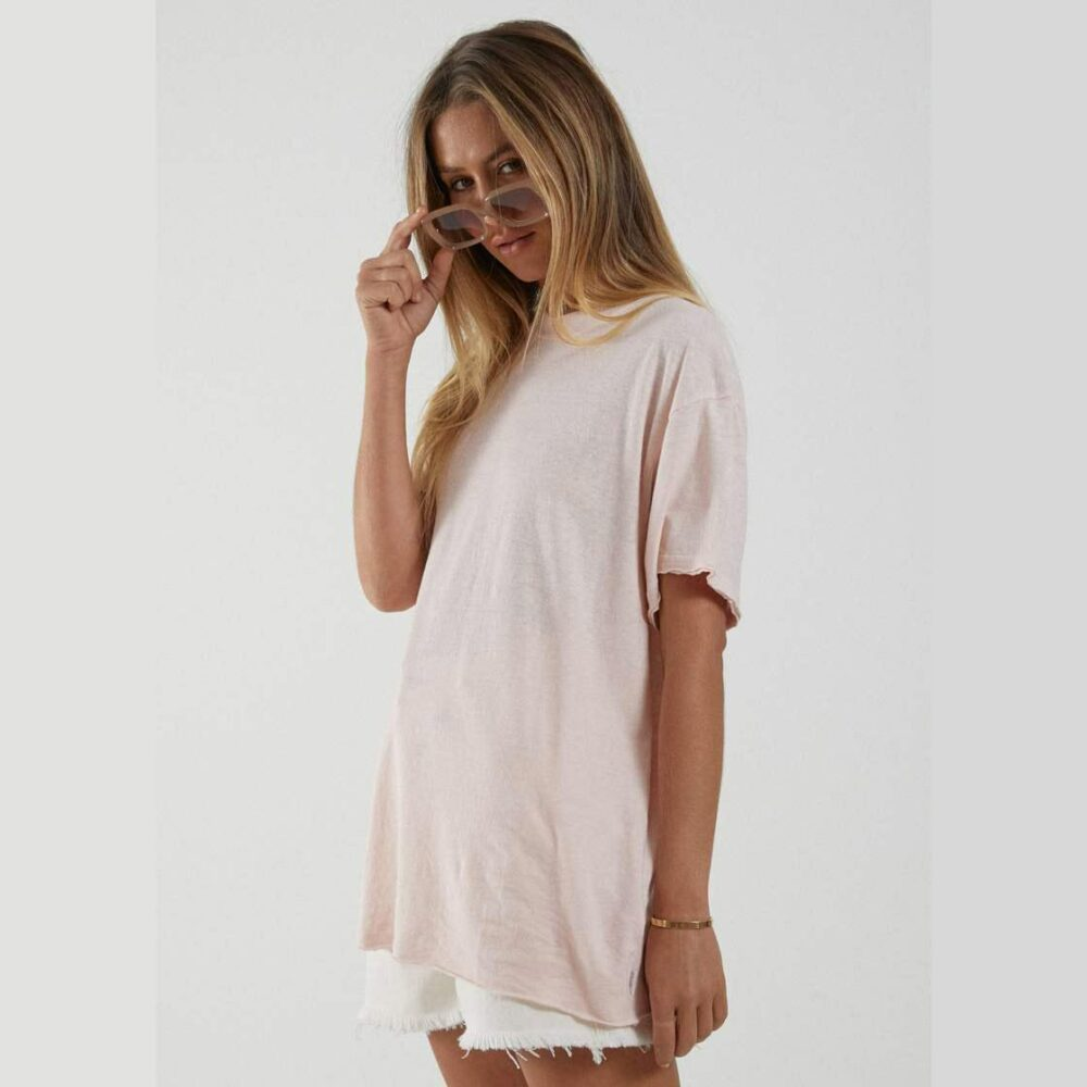 Afends Slay Oversized Hemp Tee Ashpk. Afends Tees in Womens Tees & Womens T-shirts & Singlets. Code: W204033