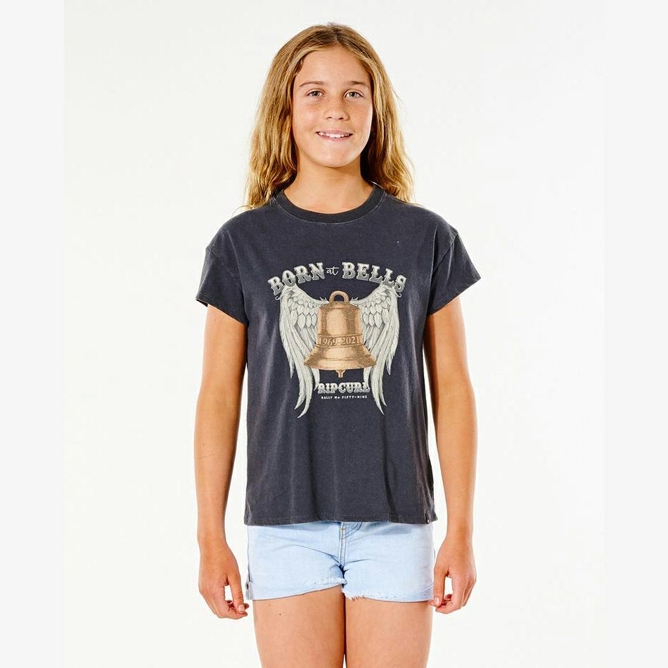 Rip Curl Born At Bells Tee (8 - 16 Years) Washed Black. Rip Curl Tees in Girls Tees & Girls T-shirts & Singlets. Code: JTEAQ9